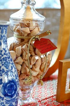Jar filled with fortune cookies