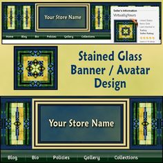 Stained Glass Banner and Avatar Design | VirtuallyYours - Graphics on ArtFire