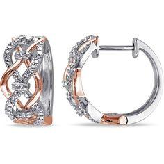Julie Leah 1/10 CT TW Diamond Pink Rhodium-Plated Silver Hoop Earrings