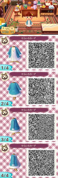 Animal crossing new leaf qr code white dress with blue sweater/coat