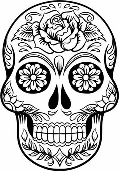 Sugar skull coloring pages are available largely for those who love it. You know that in western culture, sugar skull is very famous. Sugar Skull Tattoos, Sugar Skull Art, Sugar Skulls, Sugar Skull Drawings, Sugar Skull Stencil, Mexican Skull Tattoos, Sugar Skull Design, Skull Coloring Pages, Coloring Book Pages