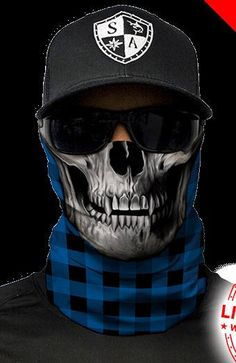Blue Lumberjack Plaid Skull Multi Purpose Face Shield Balaclava Bandana Neck Gaiter Sun Mask Neckerchief by VaderUnlimited on Etsy