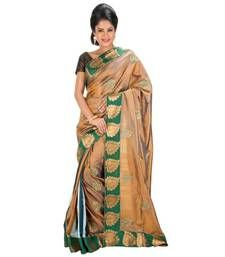 Buy BROWN and GREEN and MULTICOLOR embroidered silk saree with blouse hand-woven-saree online