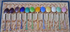 David Andersen Norway 12 Demitasse Sterling Spoons Guilloche Enamel in Orig. Box