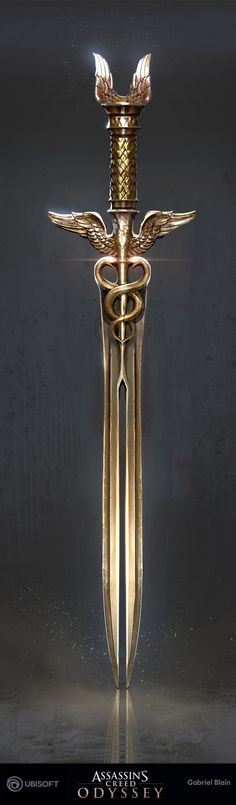 Isu, Hermes, First Civ, Gabriel Blain - Super Great ArtStation - DLC weapons. Fantasy Sword, Fantasy Weapons, Fantasy Armor, Hermes, Swords And Daggers, Knives And Swords, Cool Swords, Sword Design, Weapon Concept Art