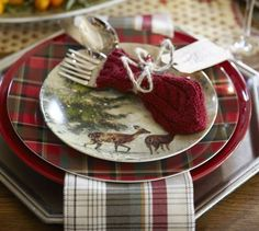 Carson Plaid Dinner Plate, Set of 4 | Pottery Barn