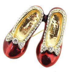 Valentine's Day Red Flats Shoes with Clear Crystal Bow Brooch