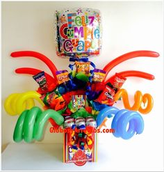Balloons And More, Gift Bouquet, Preschool Graduation, Balloon Gift, Balloon Bouquet, Sugar Rush, Gift Baskets, Birthday Parties, Birthdays