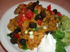 """Ground Beef Enchilada Casserole from Food.com: Take out the olives and this may be a new favorite for """"Taco Tuesday"""" nights!"""