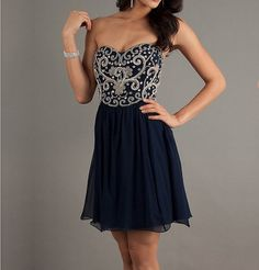 Fascinating Dark Navy Embriodery A-line Sweetheart Mini Homecoming Dress, short homecoming dress, short prom dress 2013