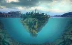 Download wallpapers Lake Bled, 3d art, underwater, Slovenia, Europe