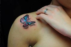 lace butterfly tattoo | Colorful Butterfly Tattoos for Women