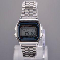 Retro dámské digitální hodinky ve stylu starých Casio hodinek kovový  řemínek ve stříbrné barvě podsvícený digi d1e66dcac5