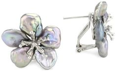 Sterling Silver Black Keshi Cultured Pearl Clip Earrings