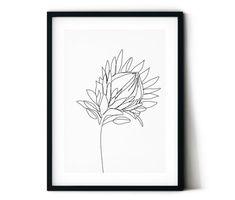 Items similar to Protea digital print. Home decor on Etsy - Modern Protea Art, Protea Flower, Australian Wildflowers, Australian Flowers, Ligne Continue, Simple Wall Art, Easy Wall, Botanical Line Drawing, Flower Outline