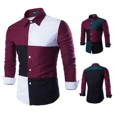 Nuevo 2015 para hombre Patchwork hombres de moda de costura vestido con estilo ocasionales adelgazan manga larga camisas de tela escocesa roja GreenM XXL en Camisas Casuales de Moda y Complementos Hombre en AliExpress.com | Alibaba Group