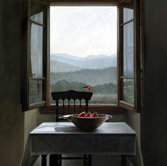 ◇ Artful Interiors ◇ paintings of beautiful rooms - Karen Hollingsworth, The Apple Thief 36x36 oil