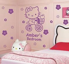 Personalised Hello Kitty vinyl girls bedroom wall decal sticker #10 gift idea