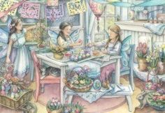 kim jacobs Cottage Art, Art Drawings, Sketches, Illustrations, Artists, Artwork, Painting, Image, Beautiful
