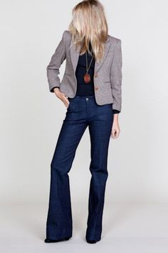 These jeans are amazing. The tweed jacket and necklace are an excellent touch.