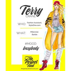"""Meet Terry, from my upcoming novel, #ThePerfectFind! She's the gossipy fashion assistant who becomes Jenna's work wife. A plucky social media star/party girl, she describes her look as """"Athleisure Lolita,"""" and explains that her side-shave hairstyle is code for """"black dudes, only."""" Even though she's half Jenna's age, she becomes her mentor  - showing old-school Jenna the ropes in an industry where a robust Instagram following equals fashion power. #preordertoday #Amazon #iBooks #chicklit"""
