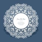 Round cutout paper frame, laser cut lace doily, save the date card or wedding invitation template, vector illustration Doily Wedding, Wedding Cards, Black And Silver Wallpaper, Wedding Invitation Templates, Invitations, Paper Lace Doilies, Lace Painting, Cutwork Embroidery, Paper Frames