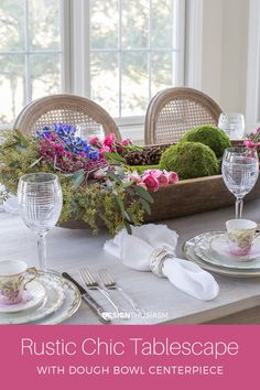 Do you love the mix of rustic with refined? This rustic chic table is based around a vintage dough bowl centerpiece paired with elegant tabletop elements. Decoration Table, Centerpiece Decorations, Table Centerpieces, Decoration Restaurant, Easter Centerpiece, Porches, Winter Table, Beautiful Table Settings, Diy Home