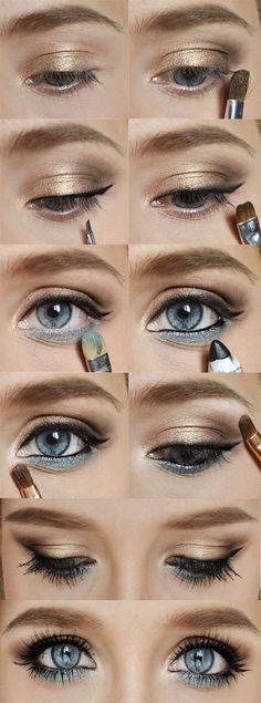 Makeup Mondays: Gold and blue eye makeup for blue eyes