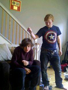 Ed Sheeran in a Captain America shirt, messing with Harry Styles. If you know me at all, you know that this picture is everything I love in life.