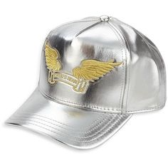Robin's Jeans Embroidered Emblem Silver Cap ($68) ❤ liked on Polyvore featuring men's fashion, men's accessories, men's hats, apparel & accessories, silver and mens caps and hats