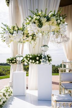 Stunning wedding ceremony backdrop (flowers & decor by Wedding Ceremony Decorations, Wedding Themes, Wedding Centerpieces, Ceremony Backdrop, Wedding Photos, Wedding Ideas, Elegant Wedding, Floral Wedding, Wedding Flowers