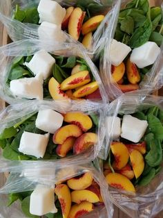 Peaches are in season so we decided to use them for our smoothies  2 servings per packet Ingredients in each packet (adjust to your liking): 2 ripe peaches, sliced 2-4 frozen Greek yogurt cubes (freez