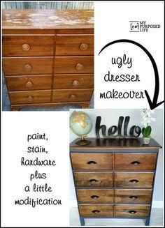 Amazing ugly dresser makeover with paint stain hardware modification MyRepurposedLife.com