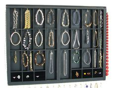 Bracelet and necklace holder printer drawer with stud slots and ring cubbys