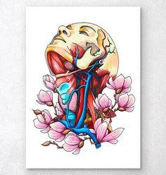 Head, neck and arteries - Floral anatomy – Codex Anatomicus Bio Art, Art Sketches, Art Drawings, Human Anatomy Art, Biology Art, Nurse Art, Kunst Poster, Medical Art, Head And Neck