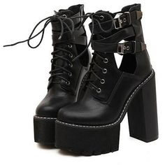 Black Lace Up Buckle Strap Heeled Platform Ankle Boots (€54) ❤ liked on Polyvore featuring shoes, boots, ankle booties, zapatos, short black boots, lace-up ankle boots, black bootie, lace up platform bootie and black booties