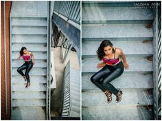 Model Photography | Beautiful Woman | African American | Pink Top | Leather Pants | Fashion Photography | Stairs | Speedlight | Nashville TN | Tausha Ann Photography