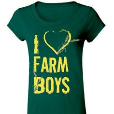 << I Love Farm boys Tee >> You know you love them farm boys!!! <3 <3  A super cute country tee in green and yellow  Available in small medium and large   Please do not buy this listing, ask me for your size and I will make you a listing :) Twang Boutique  Tops Tees - Short Sleeve