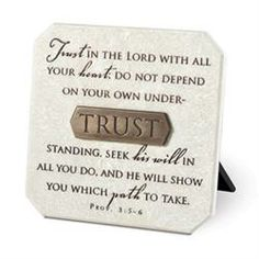 Resin Plaque - Proverbs 3:5-6 from Mardel