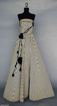 BLACK & WHITE BALLGOWN, 1950s~ Silk faille in black & white stripes, strapless, princess seams, full skirt, black velvet & chiffon trailing rose trim.