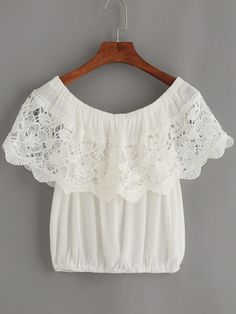 Shop White Crochet Trim Off The Shoulder Top online. SheIn offers White Crochet Trim Off The Shoulder Top & more to fit your fashionable needs. Boho Fashion, Fashion Outfits, Womens Fashion, Fashion Design, Blouse Styles, Blouse Designs, Beautiful Outfits, Cute Outfits, Crochet Trim