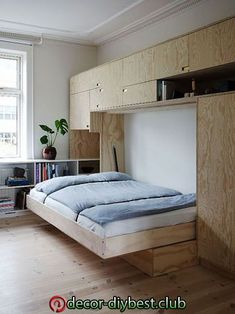 The wonderful design of a small space home small furniture and small house design, small home design, minimalist home design, apartment design Home Room Design, Tiny House Design, Condo Living, Home Living Room, Small Rooms, Small Spaces, Cama Murphy, Murphy Bed, Plywood Interior