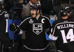 Dustin Brown, the first Los Angeles King to ever hoist the Stanley Cup
