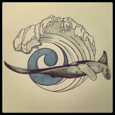 I attempted to turn my manta ray sketch in a tattoo style drawing (which is difficult when you can't get into, and thus know very little about, tattooing!)  Manta birostris / manta ray set on an abstract / geometric style wave / surf with a blue koru in the centre.  The koru is a Maori symbol meaning perpetual forward movement amongst other things, I featured it to symbolise manta survival despite them being hunted for their gill rakes and cartilage.  art / artist / sea / ocean / nature…