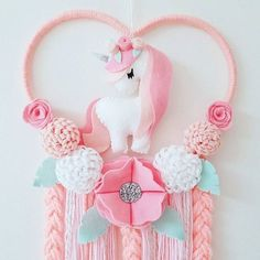 Mini Heart Unicorn Dream Catcher In Pinks white and mint Felt Crafts, Diy And Crafts, Crafts For Kids, Arts And Crafts, Unicorn Birthday Parties, Unicorn Party, Baby Decor, Kids Decor, Baby Mobile