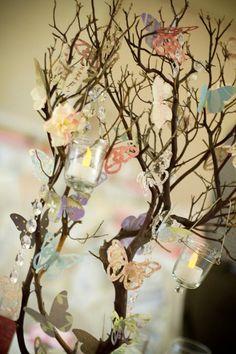 Butterfly Trees :  wedding butterfly diy ivory manzanita pink reception centerpiece