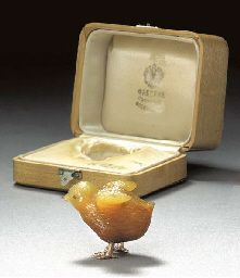 by Faberg', circa 1890 Realistically carved, with cabochon ruby eyes and gold feet, in original fitted case stamped, 'Faberg', St. Petersburg, Moscow, London' with Imperial warrant 13/4in. (4.5cm.) high PROVENANCE Henry Kleinmann & Son, Ltd., London, September 1984 LITERATURE Hill, G. Faberg' and the Russian Master Goldsmiths, New York, 1989, p. 119, ill. pl. no. 88 Forbes, C. & Tromeur-Brenner, R. Faberg', The Forbes Collection, New York, 1999, p. 95, ill. p. 94 EXHIBITION Lugano, The ...