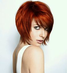 Cute cut. The color would be a cool highlight color but not for all over color. #Short bob hairstyles with the red hair#color
