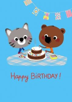Two adorable characters from Marc Boutavant's book Around the World with Mouk are off to a party, armed with gifts and a Birthday cake. Hype Mouk Birthday Card - Cake