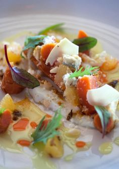 """Dry-aged roast carrot, gorgonzola, yoghurt, curry oil, orange, macadamia, white chocolate and herbs"" - WINE & DINE, Winelands, South Africa, Stellenbosch"